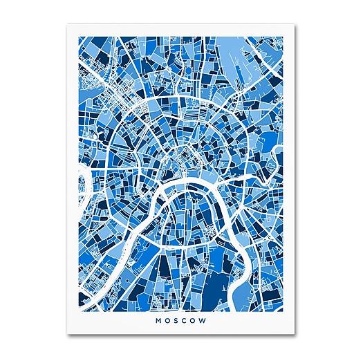 """Trademark Fine Art ''Moscow City Street Map'' by Michael Tompsett 35"""" x 47"""" Canvas Art (MT0849-C3547GG)"""