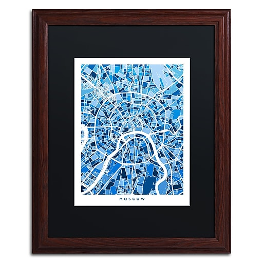 "Trademark Fine Art ''Moscow City Street Map III'' by Michael Tompsett 16"" x 20"" Black Matted Wood Frame (MT0849-W1620BMF)"