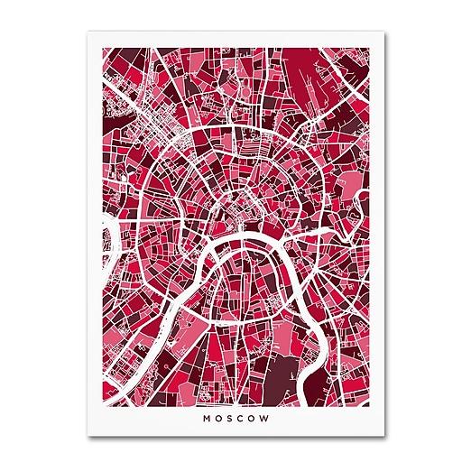 """Trademark Fine Art ''Moscow City Street Map'' by Michael Tompsett 24"""" x 32"""" Canvas Art (MT0850-C2432GG)"""