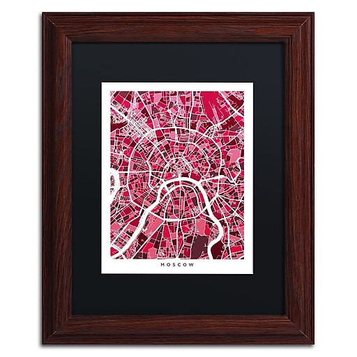 """Trademark Fine Art ''Moscow City Street Map IV'' by Michael Tompsett 11"""" x 14"""" Black Matted Wood Frame (MT0850-W1114BMF)"""