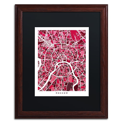 "Trademark Fine Art ''Moscow City Street Map IV'' by Michael Tompsett 16"" x 20"" Black Matted Wood Frame (MT0850-W1620BMF)"