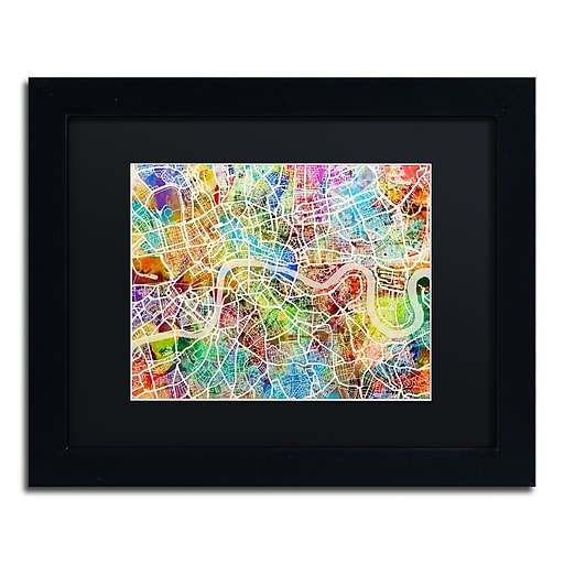 "Trademark Fine Art ''London England Street Map II'' by Michael Tompsett 11"" x 14"" Black Matted Black Frame (MT0851-B1114BMF)"