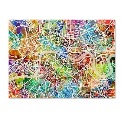 Trademark Fine Art ''London England Street Map'' by Michael Tompsett 24