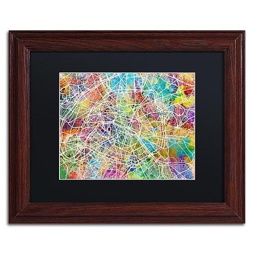 "Trademark Fine Art ''Paris France Street Map II'' by Michael Tompsett 11"" x 14"" Black Matted Wood Frame (MT0852-W1114BMF)"