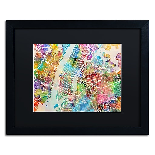 "Trademark Fine Art ''New York City Street Map'' by Michael Tompsett 16"" x 20"" Black Matted Black Frame (MT0854-B1620BMF)"