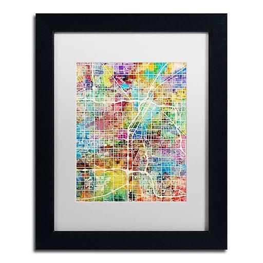 "Trademark Fine Art ''Las Vegas City Street Map'' by Michael Tompsett 11"" x 14"" White Matted Black Frame (MT0855-B1114MF)"