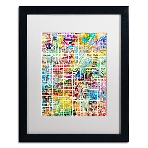 "Trademark Fine Art ''Las Vegas City Street Map'' by Michael Tompsett 16"" x 20"" White Matted Black Frame (MT0855-B1620MF)"