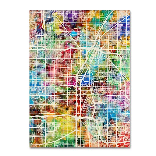 "Trademark Fine Art ''Las Vegas City Street Map'' by Michael Tompsett 35"" x 47"" Canvas Art (MT0855-C3547GG)"