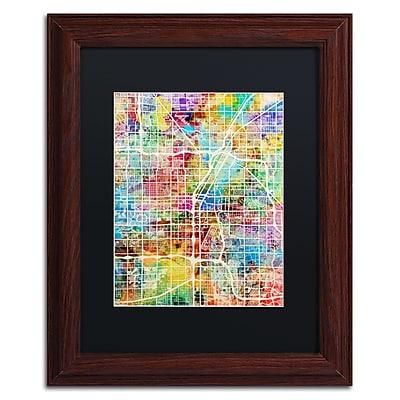 "Trademark Fine Art ''Las Vegas City Street Map'' by Michael Tompsett 11"" x 14"" Black Matted Wood Frame (MT0855-W1114BMF)"