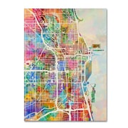 "Trademark Fine Art ''Chicago City Street Map'' by Michael Tompsett 18"" x 24"" Canvas Art (MT0856-C1824GG)"