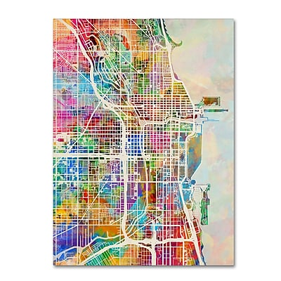 Trademark Fine Art ''Chicago City Street Map'' by Michael Tompsett 24