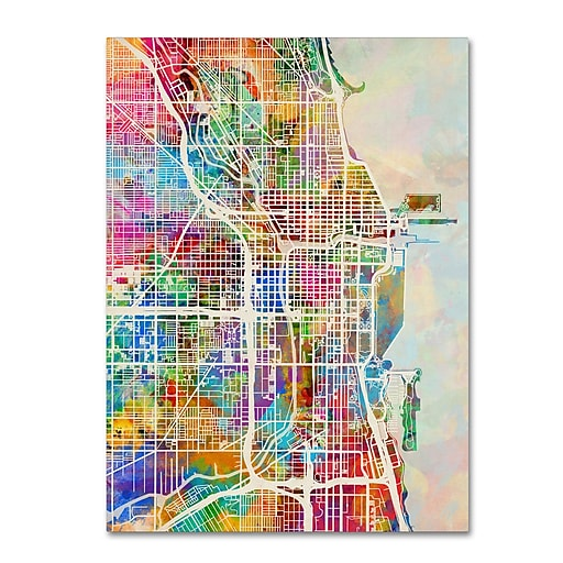 "Trademark Fine Art ''Chicago City Street Map'' by Michael Tompsett 14"" x 19"" Canvas Art (MT0856-C1419GG)"