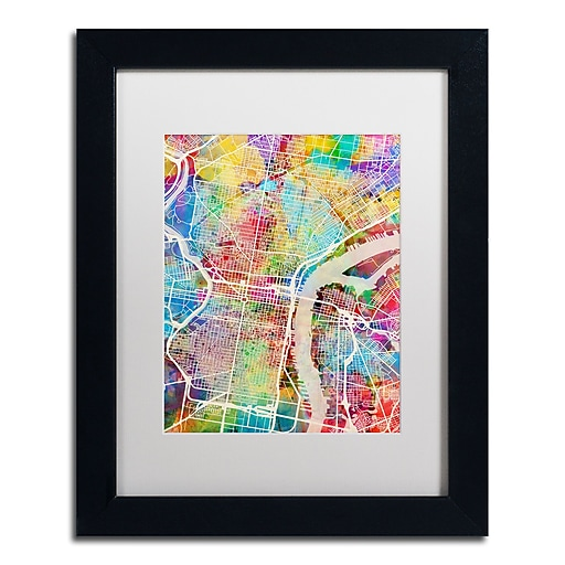 "Trademark Fine Art ''Philadelphia Street Map'' by Michael Tompsett 11"" x 14"" White Matted Black Frame (MT0857-B1114MF)"