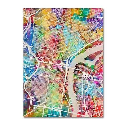 Trademark Fine Art ''Philadelphia Pennsylvania Street Map'' by Michael Tompsett 24