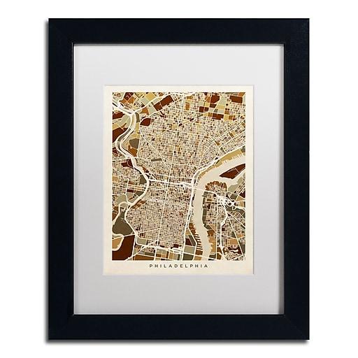 """Trademark Fine Art ''Philadelphia Street Map II'' by Michael Tompsett 11"""" x 14"""" White Matted Black Frame (MT0858-B1114MF)"""