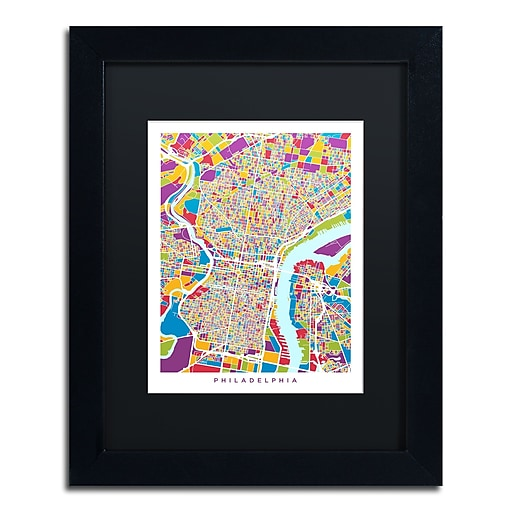 "Trademark Fine Art ''Philadelphia Street Map III'' by Michael Tompsett 11"" x 14"" Black Matted Black Frame (MT0859-B1114BMF)"