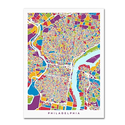 Trademark Fine Art ''Philadelphia Pennsylvania Street Map'' by Michael Tompsett 14