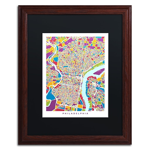 "Trademark Fine Art ''Philadelphia Street Map III'' by Michael Tompsett 16"" x 20"" Black Matted Wood Frame (MT0859-W1620BMF)"