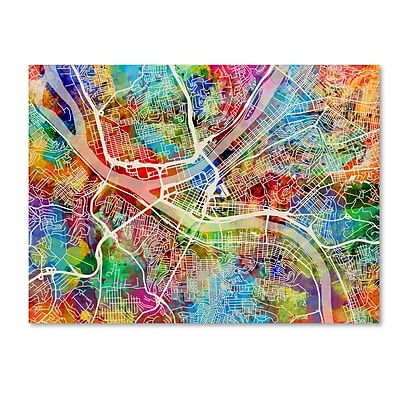 Trademark Fine Art ''Pittsburgh Pennsylvania Street Map IV'' by Michael Tompsett 24