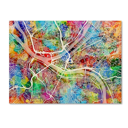"Trademark Fine Art ''Pittsburgh Pennsylvania Street Map'' by Michael Tompsett 18"" x 24"" Canvas Art (MT0860-C1824GG)"