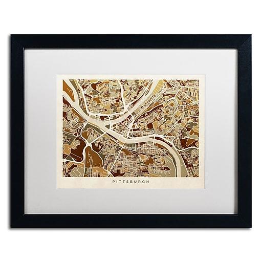 "Trademark Fine Art ''Pittsburgh Street Map'' by Michael Tompsett 16"" x 20"" White Matted Black Frame (MT0861-B1620MF)"