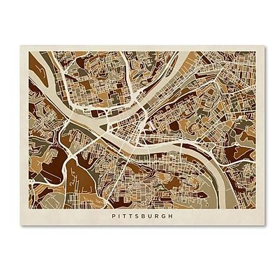 Trademark Fine Art ''Pittsburgh Pennsylvania Street Map'' by Michael Tompsett 24
