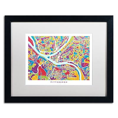 Trademark Fine Art ''Pittsburgh Street Map'' by Michael Tompsett 16