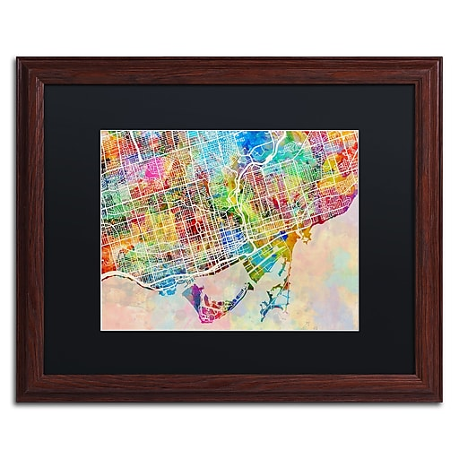 "Trademark Fine Art ''Toronto Street Map'' by Michael Tompsett 16"" x 20"" Black Matted Wood Frame (MT0863-W1620BMF)"