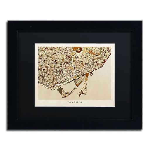 "Trademark Fine Art ''Toronto Street Map II'' by Michael Tompsett 11"" x 14"" Black Matted Black Frame (MT0864-B1114BMF)"