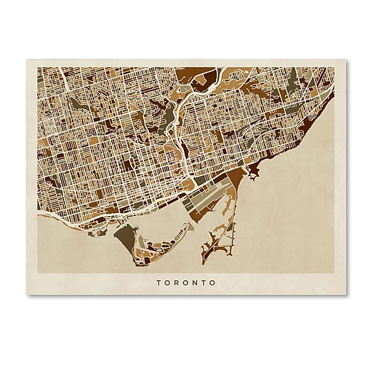 "Trademark Fine Art ''Toronto Street Map'' by Michael Tompsett 35"" x 47"" Canvas Art (MT0864-C3547GG)"