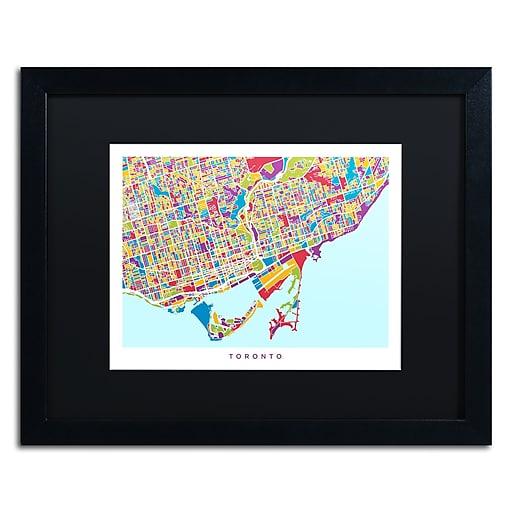 "Trademark Fine Art ''Toronto Street Map III'' by Michael Tompsett 16"" x 20"" Black Matted Black Frame (MT0865-B1620BMF)"