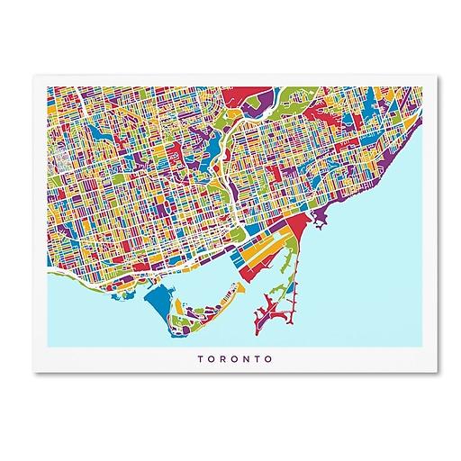 "Trademark Fine Art ''Toronto Street Map'' by Michael Tompsett 35"" x 47"" Canvas Art (MT0865-C3547GG)"