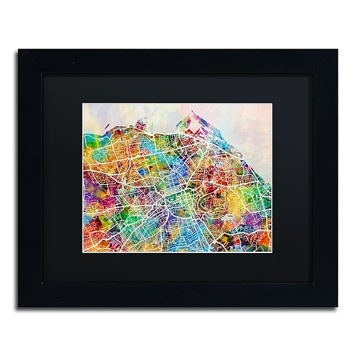"Trademark Fine Art ''Edinburgh Street Map'' by Michael Tompsett 11"" x 14"" Black Matted Black Frame (MT0866-B1114BMF)"