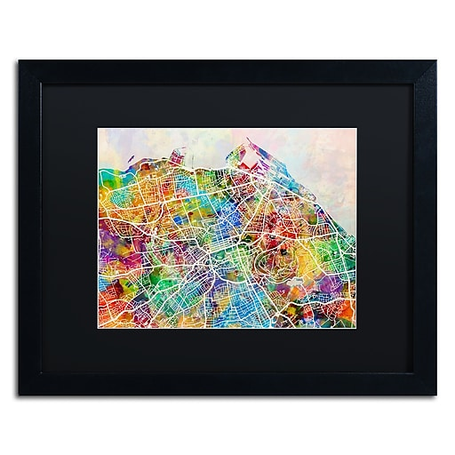 "Trademark Fine Art ''Edinburgh Street Map'' by Michael Tompsett 16"" x 20"" Black Matted Black Frame (MT0866-B1620BMF)"