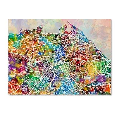 Trademark Fine Art ''Edinburgh Street Map'' by Michael Tompsett 24