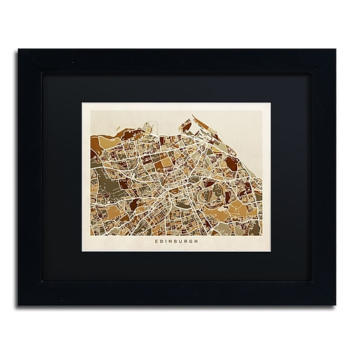 "Trademark Fine Art ''Edinburgh Street Map II'' by Michael Tompsett 11"" x 14"" Black Matted Black Frame (MT0867-B1114BMF)"