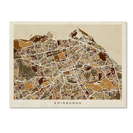 "Trademark Fine Art ''Edinburgh Street Map'' by Michael Tompsett 24"" x 32"" Canvas Art (MT0867-C2432GG)"