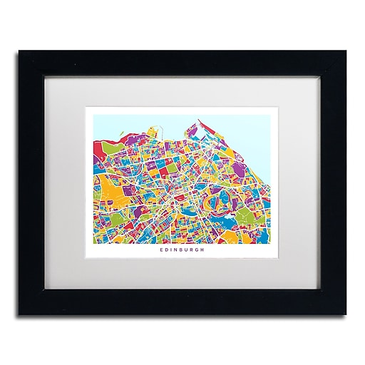 "Trademark Fine Art ''Edinburgh Street Map III'' by Michael Tompsett 11"" x 14"" White Matted Black Frame (MT0868-B1114MF)"