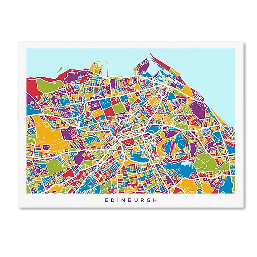"Trademark Fine Art ''Edinburgh Street Map'' by Michael Tompsett 24"" x 32"" Canvas Art (MT0868-C2432GG)"