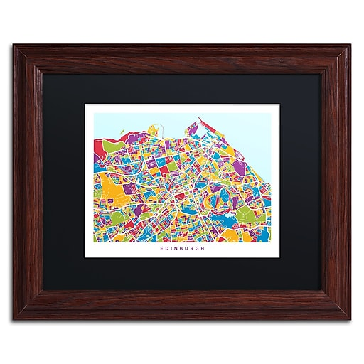 "Trademark Fine Art ''Edinburgh Street Map III'' by Michael Tompsett 11"" x 14"" Black Matted Wood Frame (MT0868-W1114BMF)"