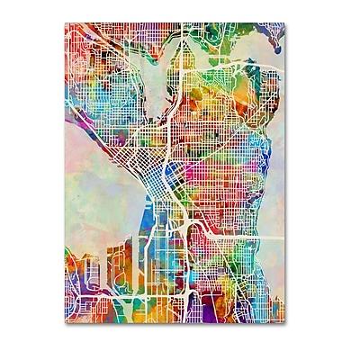 Trademark Fine Art ''Seattle Washington Street Map'' by Michael Tompsett 14