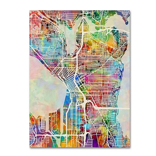 "Trademark Fine Art ''Seattle Washington Street Map'' by Michael Tompsett 14"" x 19"" Canvas Art (MT0869-C1419GG)"