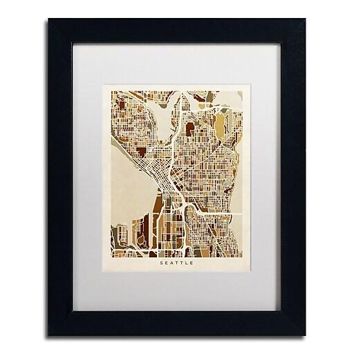 "Trademark Fine Art ''Seattle Washington Street Map II'' by Michael Tompsett 11"" x 14"" (MT0870-B1114MF)"