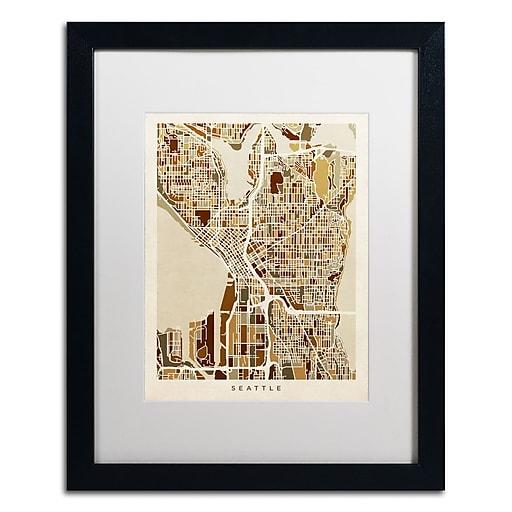 "Trademark Fine Art ''Seattle Washington Street Map II'' by Michael Tompsett 16"" x 20"" White Matted Black Frame (MT0870-B1620MF)"