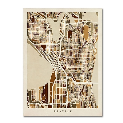 Trademark Fine Art ''Seattle Washington Street Map'' by Michael Tompsett 14