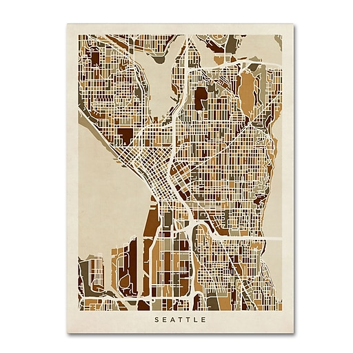 "Trademark Fine Art ''Seattle Washington Street Map'' by Michael Tompsett 14"" x 19"" Canvas Art (MT0870-C1419GG)"