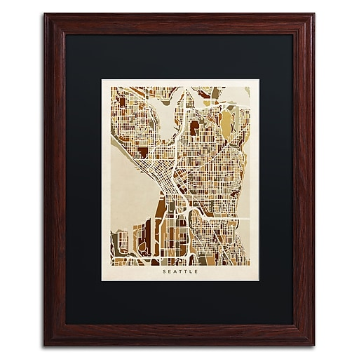 "Trademark Fine Art ''Seattle Washington Street Map II'' by Michael Tompsett 16"" x 20"" Black Matted Wood Frame (MT0870-W1620BMF)"