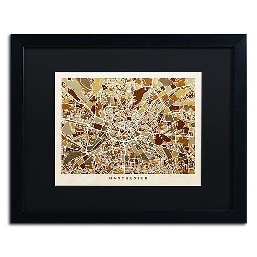 "Trademark Fine Art ''Manchester England Street Map II'' by Michael Tompsett 16"" x 20"" Black Frame (MT0872-B1620BMF)"