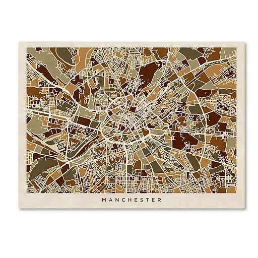 """Trademark Fine Art ''Manchester England Street Map'' by Michael Tompsett 18"""" x 24"""" Canvas Art (MT0872-C1824GG)"""