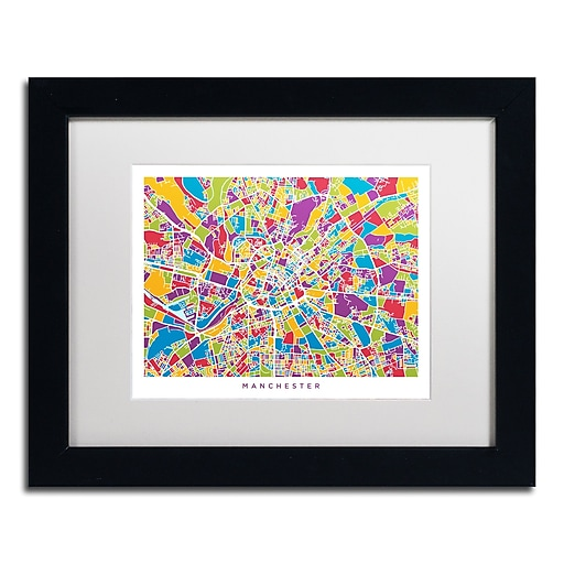 "Trademark Fine Art ''Manchester England Street Map III'' by Michael Tompsett 11"" x 14"" Black Frame (MT0873-B1114MF)"